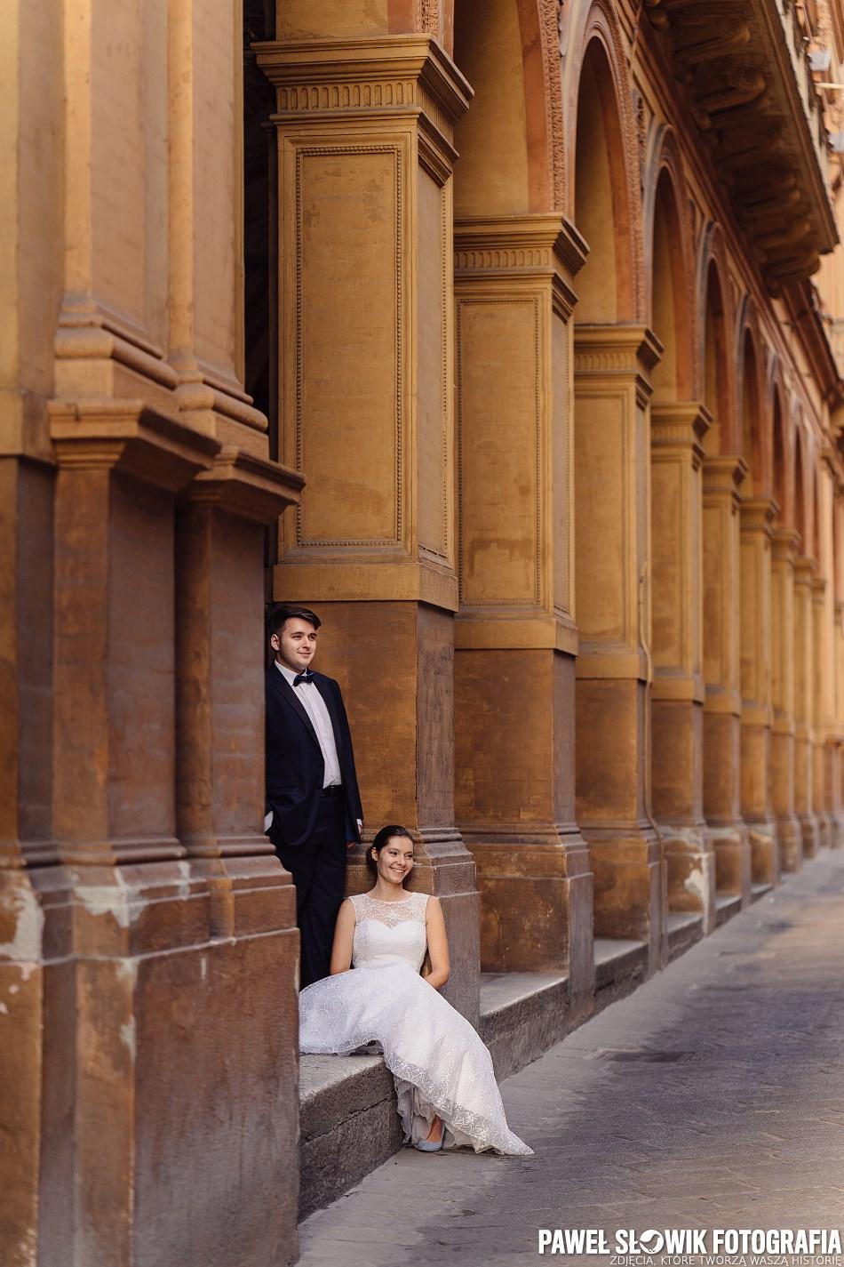 piękny plener ślubny w Bolonii Włochy