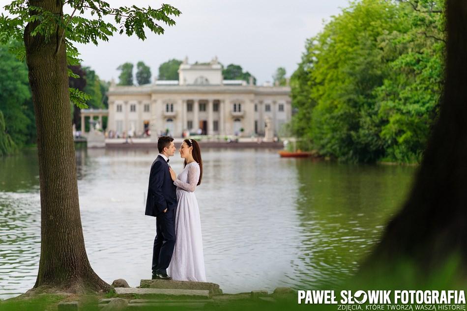 plener ślubny Park w Łazienkach