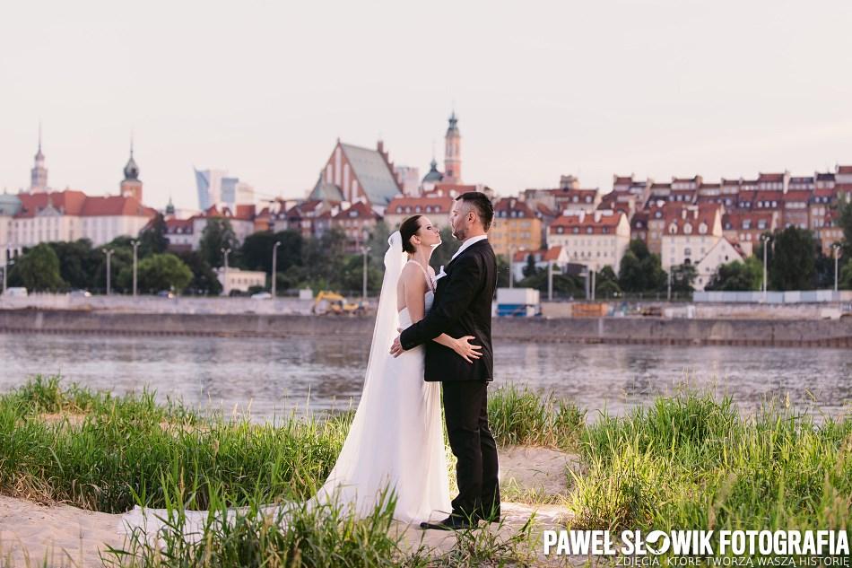 sesja ślubna nad Wisłą, Warszawa