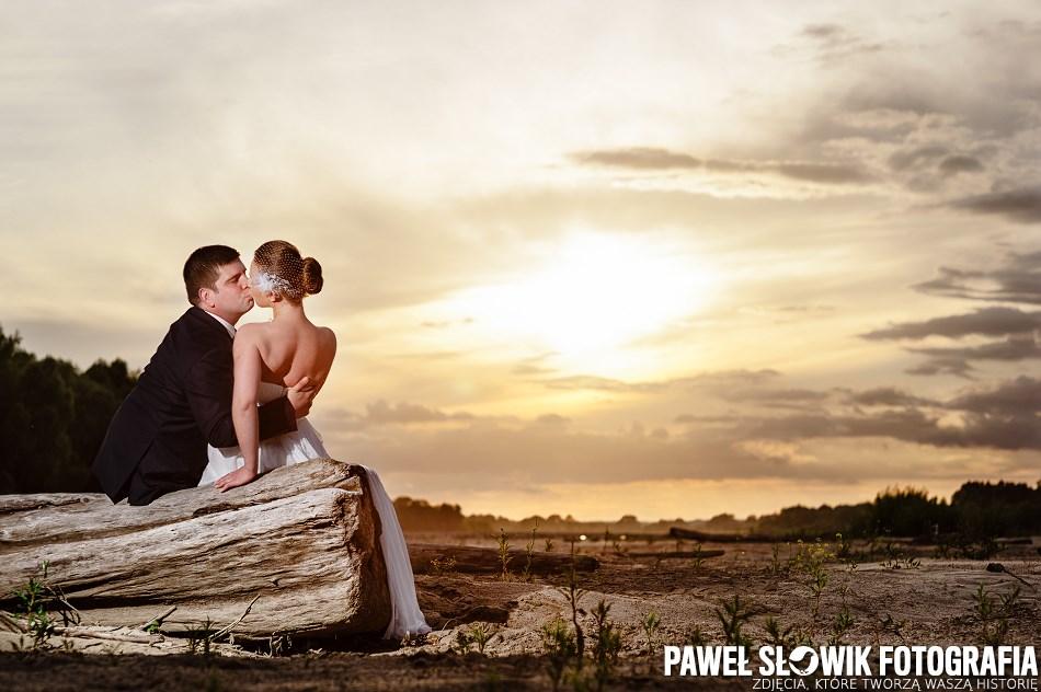 sesja poślubna nad Wisłą Łomianki